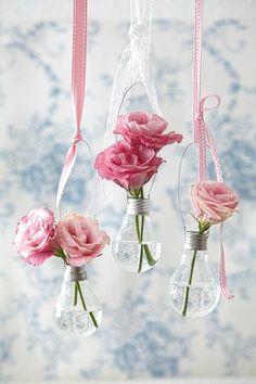 light bulbs as flower vases