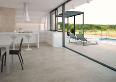 Cement effect glazed porcelain tile in 90x90cm, 60x60cm and 30x60cm.  Supplied by Exto