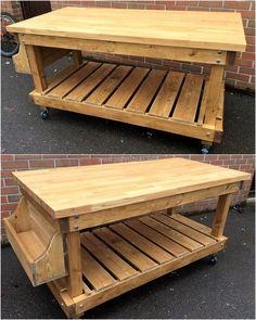 pallets wooden portable kitchen island