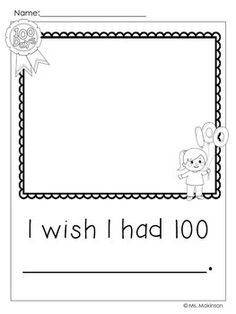 day of school writing prompts **freebie! 100 Day Of School Project, 100 Days Of School, School Holidays, Kindergarten Writing, Writing Activities, Holiday Activities, Kindergarten Classroom, 100s Day, 100 Day Celebration