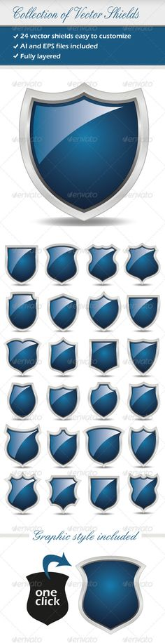 Collection Of Vector Shields #GraphicRiver The pack contains: -Ai and Eps files of 24 vector shields, easy to modify with regard to color and size and fully layered -Graphic style included (demo in the preview) There are two layers, one for the shadows, one for the shields. Indeed i'm using graphic styles on the shapes of the shield for the effects (strokes, gradient…). To manage the strokes and the gradients of the shield you have to go to the APPARENCE PANEL . Created: 12March12…