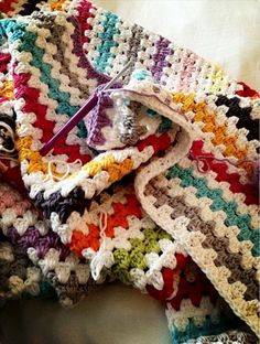 Granny Stripe Crochet Afghan Throw Blanket - Sugar Bee Crafts Well, actually crochet, but you get it. Granny Stripe Crochet, Granny Stripes, Granny Stripe Blanket, Striped Crochet Blanket, Crochet Quilt, Afghan Crochet Patterns, Love Crochet, Crochet Stitches, Knit Crochet