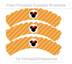 Free Carrot Orange Diagonal Striped  Minnie Mouse Scalloped Cupcake Wrappers