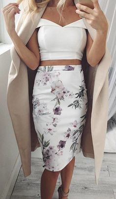 #fall #outfits Claim It Back Skirt In White Floral