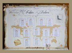 """DECORI PER TE - Decori per Matrimonio e altre Occasioni & Eventi: TABLEAU """"VIAGGI - GOLDEN VINTAGE"""" - """"Golden Vintage Travel"""" Table Plan"""