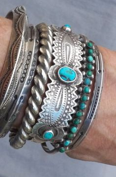 Old Vintage Silver Snake Eye Green Turquoise Row Cuff Bracelet