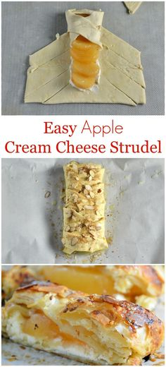 Easy Apple Cream Cheese Strudel Recipe- a twist of apple pie and apple crisp, this super simple dessert recipe uses cream cheese, puff pastry, almonds and apple pie filling in a lovely braid. Healthy Apple Desserts, Apple Recipes, Easy Desserts, Dessert Recipes, Dessert Bread, Healthy Recipes, Breakfast Dessert, Easy Recipes, Puff Pastry Desserts