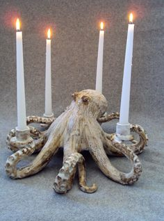 Not diy but I want it in my home. Octopus Candleabra Ceramic Sculpture: Beach Decor, Coastal Home Decor, Nautical Decor, Tropical Island Decor & Beach Cottage Furnishings. Ceramic Pottery, Ceramic Art, Pottery Art, Reno Animal, Clay Projects, Projects To Try, 3d Studio, Paperclay, Home And Deco