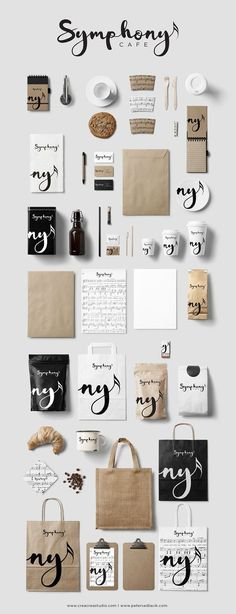 "Symphony Cafe Branding & Logo Design ""Even if we don't drink coffee we still c. - Design // Logos and Branding - Great Logo Design, Inspiration Logo Design, Design Visual, Graphisches Design, Design Ideas, Label Design, Logo Design Studio, Visual Communication Design, Studio Logo"