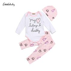 3pcs Set Baby Girl Letter Clothing Set Cute Fall Newborn Baby Girls Heart Romper Pants 2017 New Bebes Clothes Outfits Set 0-24M #FallFashion