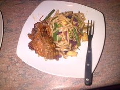 vegetable stir fry and bbq chops