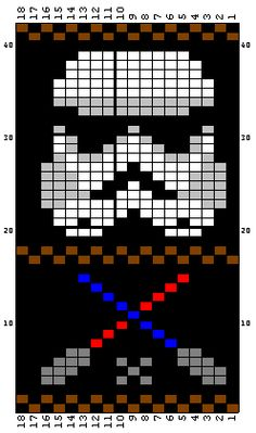 muster für stickereien color chart duplicate stitch Storm Trooper and other star wars fairisle patterns