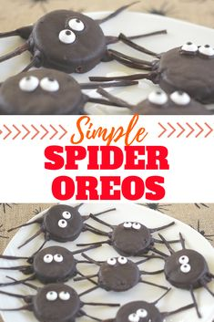 Make this fun Halloween food project for simple spider oreos. Makes a great school treat or party scare. Fall Sewing, Halloween Sewing, Halloween Food For Party, Halloween Stuff, Candy Eyeballs, Pumpkin Cheesecake Bars, Sundae Bar, Clean Eating For Beginners, School Treats