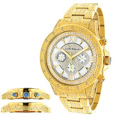 This Iced Out Mens Luxurman Watch with Diamond Band showcases 1.25 carats of genuine diamonds. Features a white mother of pearl face with three subdials and a yellow gold plated stainless steel band and case paved with diamonds. This luxurious men's diamond watch by Luxurman houses a fine Japan-made quartz movement and comes with two extra interchangeable straps in different colors (band colors may vary).
