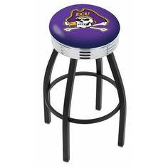 "East Carolina Pirates 30"" Black Wrinkle Swivel Bar Stool with Chrome Ribbed Ring"