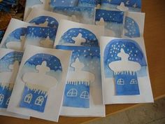 """Do church cutout with blue/white snow background. Add bible verse Matthew """"Where 2 or more are gathered."""" or """"O Come All Ye Faithful"""", . Projects For Kids, Crafts For Kids, Scripture Crafts, Catholic Crafts, Sunday School Crafts, Winter Kids, Winter Theme, Art For Kids, Christmas Crafts"""