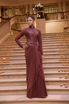 MAROON Gown Embroidery: Zari, Thread and stone work. Fabric: Lycra Net