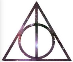 Deathly Hallows Symbol with a galaxy background