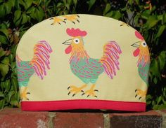 Rooster red trim Australian Tea Cosy by yellowstudiofreo on Etsy