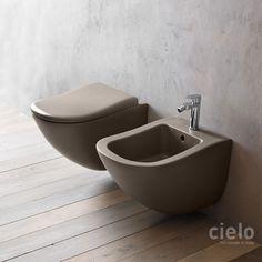 Inodoro suspendido color Arenaria Fluid - Inodoro color de baño Ceramica Cielo