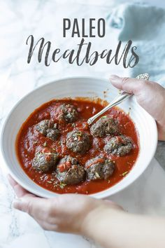 Easy Paleo Meatballs make for a hearty and healthy, family-friendly dinner packed with flavor. These gluten-free meatballs are great for meal prep, and can even be baked. Gluten-free and this recipe will be a crowd favorite. Easy Dinner Recipes, Fall Recipes, Real Food Recipes, Healthy Recipes, Soup Recipes, Dinner Ideas, Keto Recipes, Almond Recipes, Gluten Free Recipes