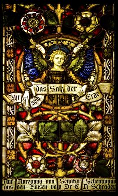 """Stained Glass Window inside the ruins of the St Nikolai church in Hamburg Germany:  """"You are the salt of the earth ..."""""""