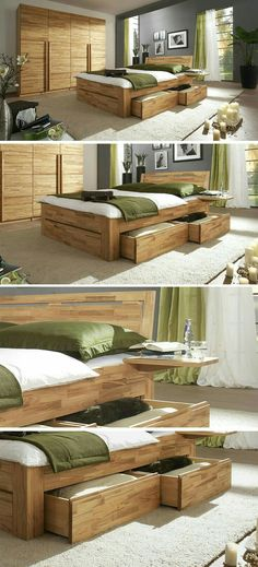 Massives Komplett-… Massive complete bedroom made of natural core beech. Bedroom Furniture Sets, Bed Furniture, Pallet Furniture, Furniture Design, Bedroom Bed Design, Home Bedroom, Bedroom Decor, Master Bedroom, Bedrooms