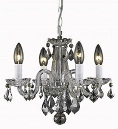 Boutique Crystal Chandeliers available in multiple colours! Great for dressing up a bedroom!  Design Lighting in Surrey, British Columbia, Canada, Elegant 7804D15G/RC, Rococo, Rococo, Royal Cut - White - White