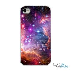 I Love you to the Universe and Back with White or Black Sides iPhone Case - IPhone 4, 4s, 5 Hard Cover - artstudio54 via Etsy