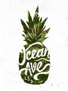 Ocean Ave Lettering and Design Pineapple Logo Art Print by Ocean Ave