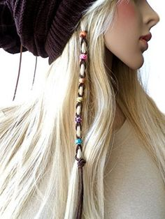 Multi-color Beads Silver Leather Hair Ties Braid Hair Jewelry  Click picture to enlarge