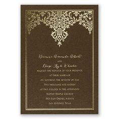 foil wedding invitation I demure damask I shown on brown with shiny gold foil; available in many paper & foil choices