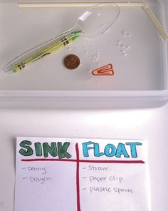 Preschool and kindergarten  SC.1.28 Use vocabulary that indicates  understanding of scientific principles  (e.g., sink, float, melt, solid, liquid).  ELA.2.19 Make marks with writing tools.