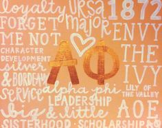 Alpha Phi Canvas - This would make a great shirt graphic for any fraternity or sorority. Use heat transfer materials, a heat press, and any set of words to create your own unique apparel.