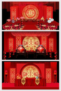 Chinese style red beautiful wedding effect map Chinese Wedding Decor, Wedding Stage Design, Pink Palace, Purple Marble, Wedding Logos, 3d Models, Red Wedding, Business Card Logo, Sign Design