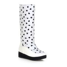 AllhqFashion Women's Round Closed toe PU Pull-on Low-heels Mid-calf Boots *** You can find more details by visiting the image link.