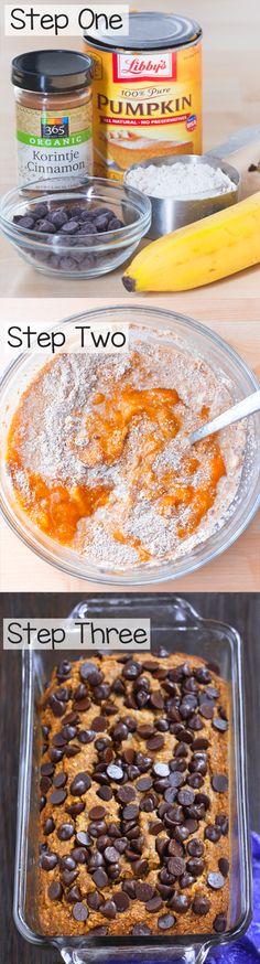 Ultra MOIST & delicious pumpkin banana bread - Ingredients: 1 can pumpkin, 2 cups banana, 1/2 tsp vanilla, 3 tbsp... Full recipe: http://chocolatecoveredkatie.com @choccoveredkt
