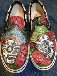 Hand-painted Day of the Dead Skulls on Vans by ThePaintedChild