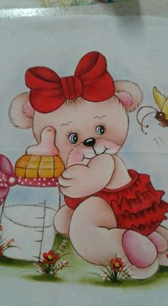 baixado Baby Shawer, Baby Art, Painting Patterns, Fabric Painting, Teddy Bear Drawing, Fabric Flowers, Art Girl, Baby Animals, Machine Embroidery