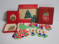 Lot of vintage Christmas Stickers Gummed seals by SalvageRelics