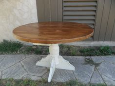 """This is a round 48"""" pedestal table made from reclaimed pine, painted base and natural finished top with clear satin varnish, can be made any size."""
