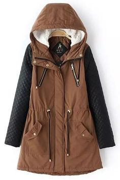 Faux Leather Spliced Hooded Coat