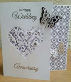 Sara Davies signature collection 'together forever' range and memory box butterfly dies. Anniversary card