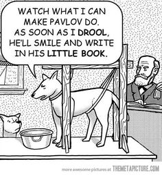 Pavlov's dog experiments on Pavlov…hahah funny if youre a psych major