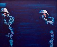 Ewa Bloom Kwiatkowska, Boys_frame 3; 2007  acrylic on canvas; 35x45;