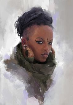 Without the earrings, this gives an idea for the skin color and hair style. Can be a bit shorter and wilder, since she's military. Piercings and ornaments are welcome, since she's pretty much a badass. Black Characters, Dnd Characters, Fantasy Characters, Female Characters, Fantasy Portraits, Character Portraits, Character Art, Black Girl Art, Black Women Art