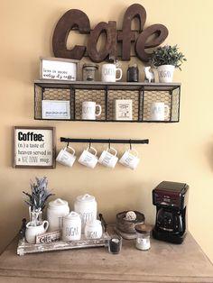 Coffee bar ☕️ Coffee Bars In Kitchen, Coffee Bar Home, Home Coffee Stations, Coffee Bar Ideas, Coffee Area, Coffee Nook, Coffee Corner, Coffee Time, Coffee Bar Design