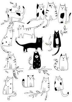 Funny Cats Pet Cute Cartoon Wall Art Decal Sticker Removable Vinyl Cut Transfer Stencil Mural Home R&; Funny Cats Pet Cute Cartoon Wall Art Decal Sticker Removable Vinyl Cut Transfer Stencil Mural Home R&; Cartoon Wall, Cute Cartoon, Art And Illustration, Cat Illustrations, Painting Illustrations, Lily Cat, Character Design, Sketches, Kitty Cats