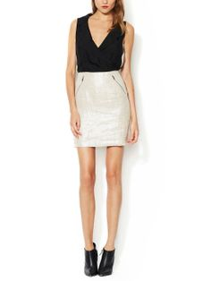 Metallic Linen Sheath Dress with Silk Bodice by Mackage at Gilt