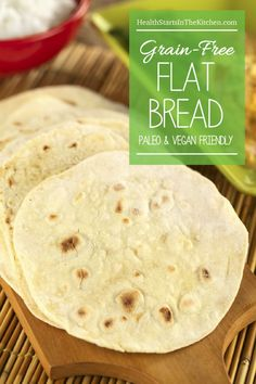 Grain Free Flat Bread Grain & Gluten-Free Flat Bread, Paleo & Vegan Friendly…(gonna sub almond flour for coconut) – Recipes With Naan Bread, Gf Recipes, Dairy Free Recipes, Whole Food Recipes, Healthy Recipes, Salad Recipes, Recipes Dinner, Bariatric Recipes, Chicken Recipes